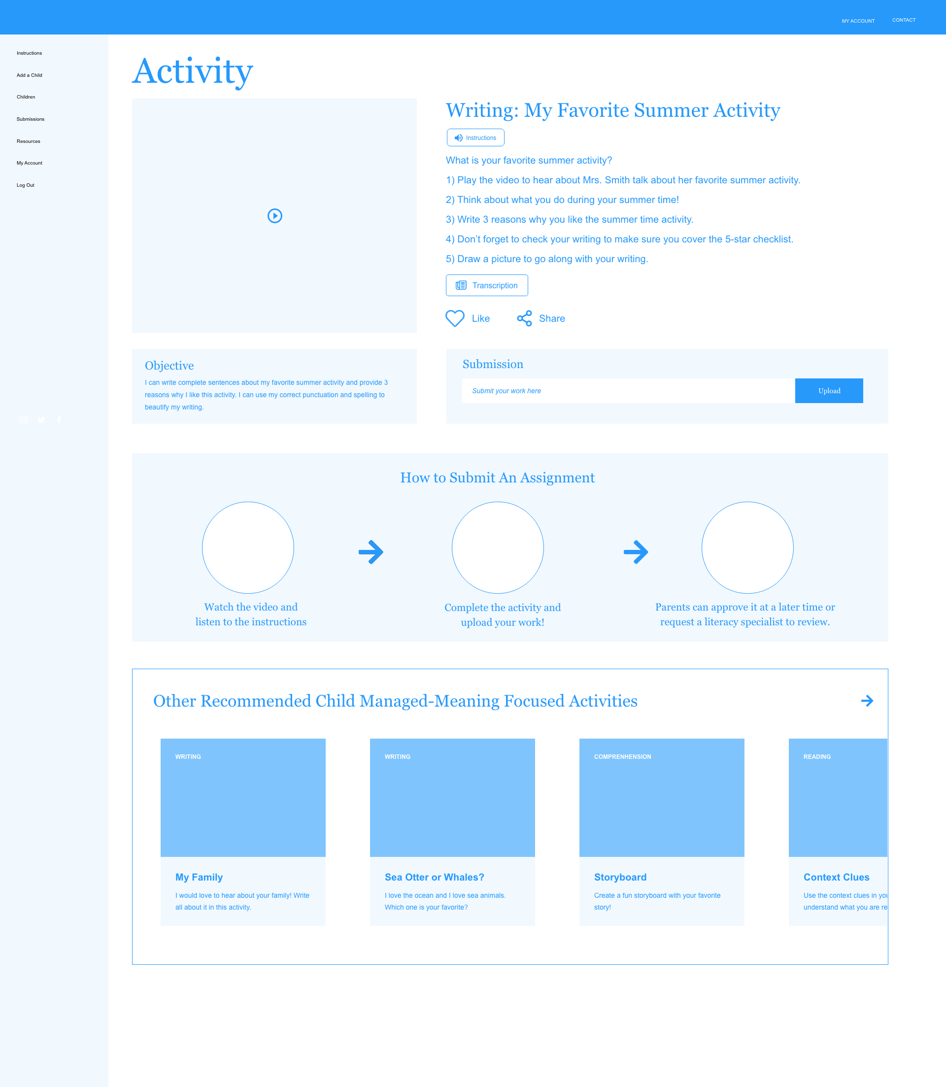 Activity-Video-Page wireframe